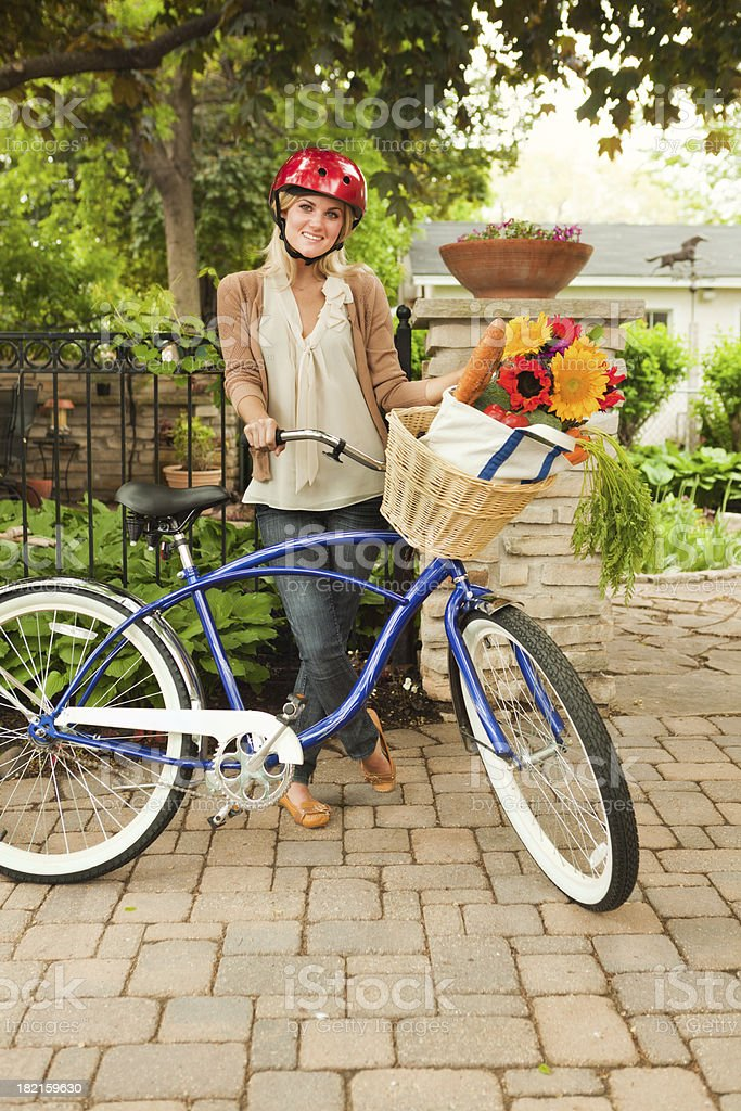 Environmental Grocery Shopper on Bicycle for Ecological Green Transportation royalty-free stock photo