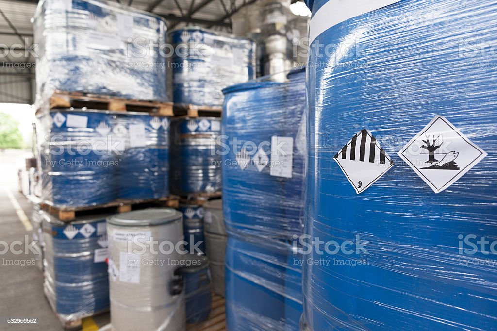 Environmental hazard barrels stock photo