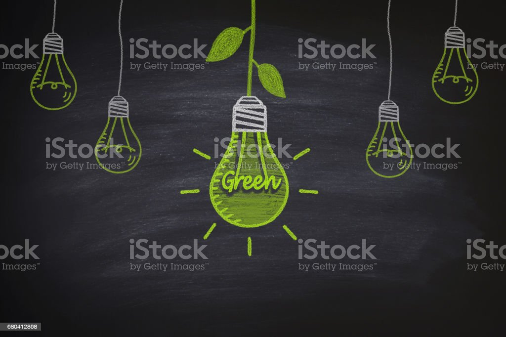 Environmental light bulbs on the blackboard stock photo