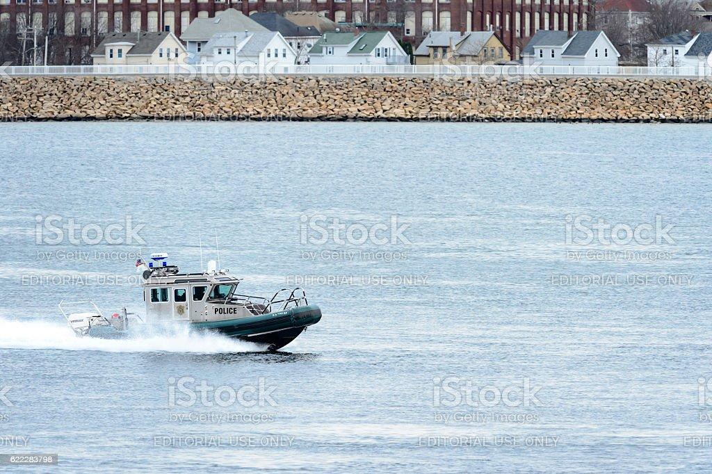 Environmental police boat stock photo