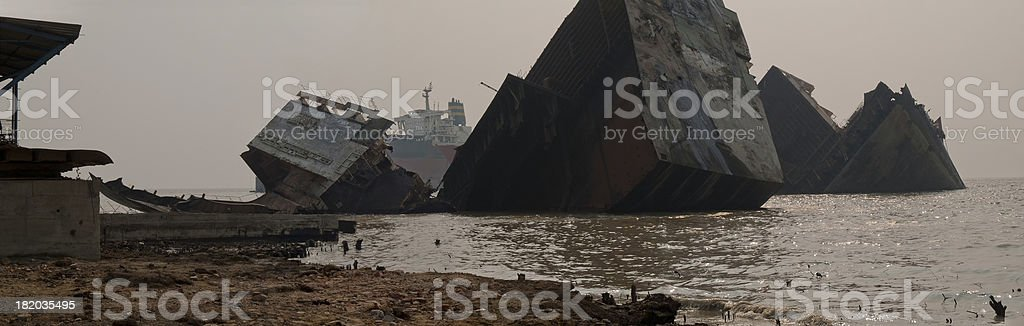 Environmental pollution in Ship breaking yards stock photo