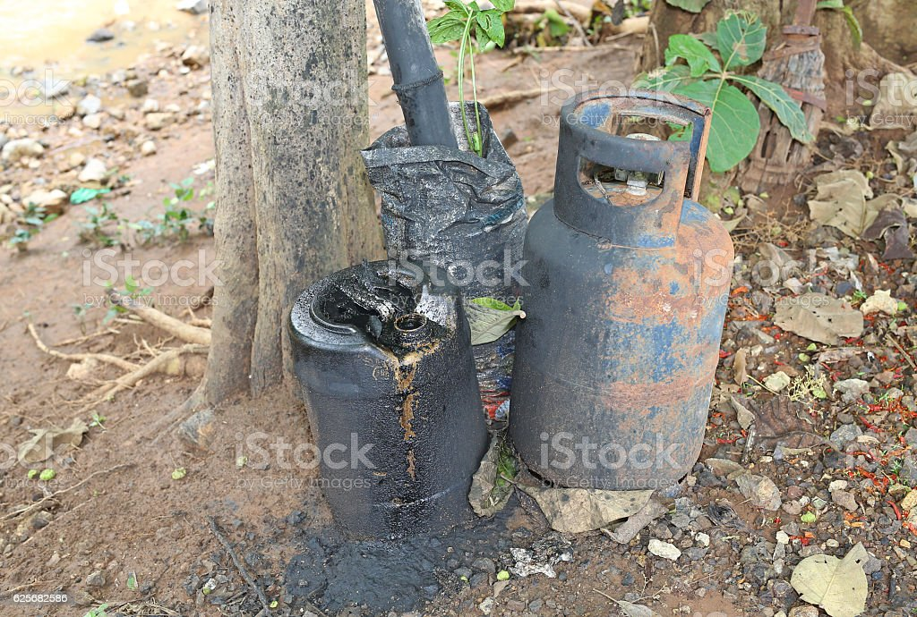 environmental pollution. overflow engine oil from tank stock photo