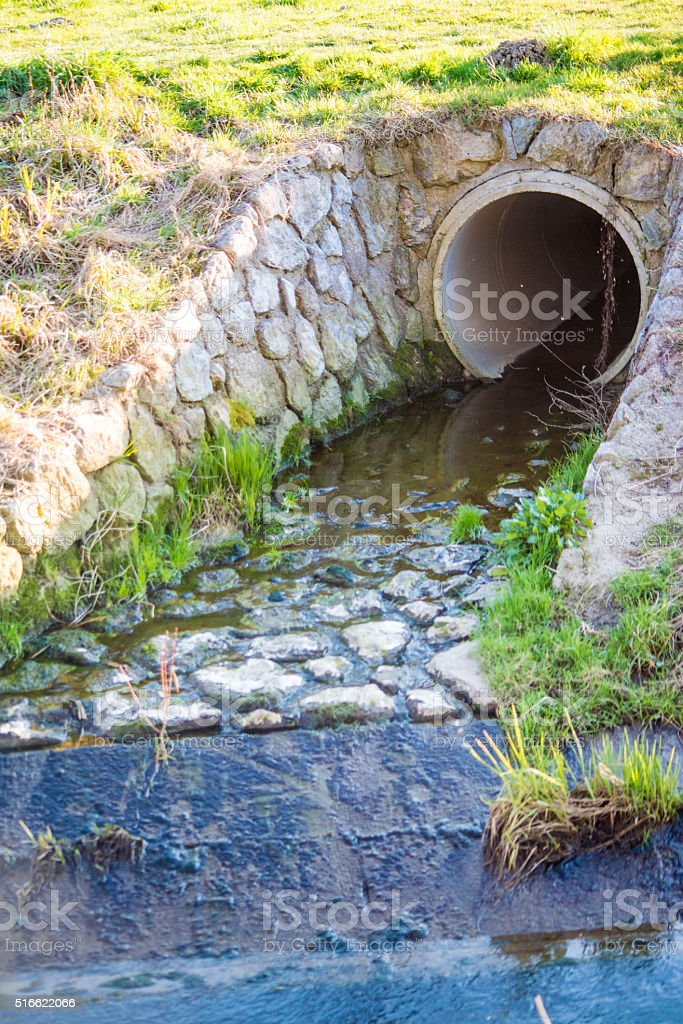 Environmental pollution sewer discharging into river stock photo