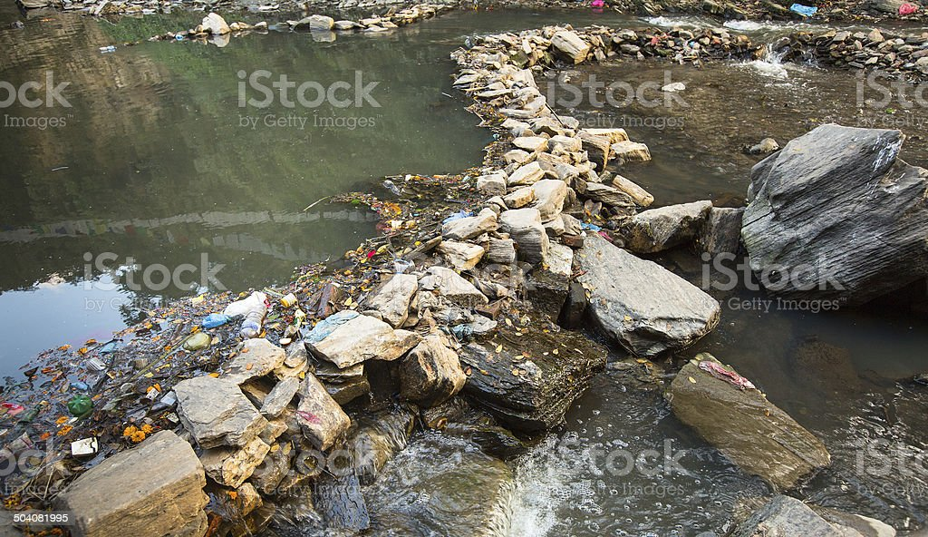 Environmental problems. Plastic Contamination into Nature. stock photo