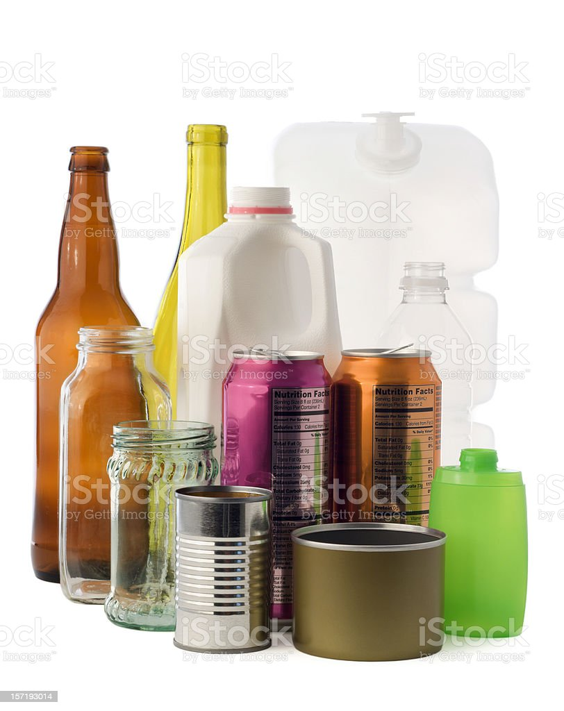 Environmental Recycling Isolated—Glass Bottles, Jars, Metal Cans, Plastic Containers stock photo