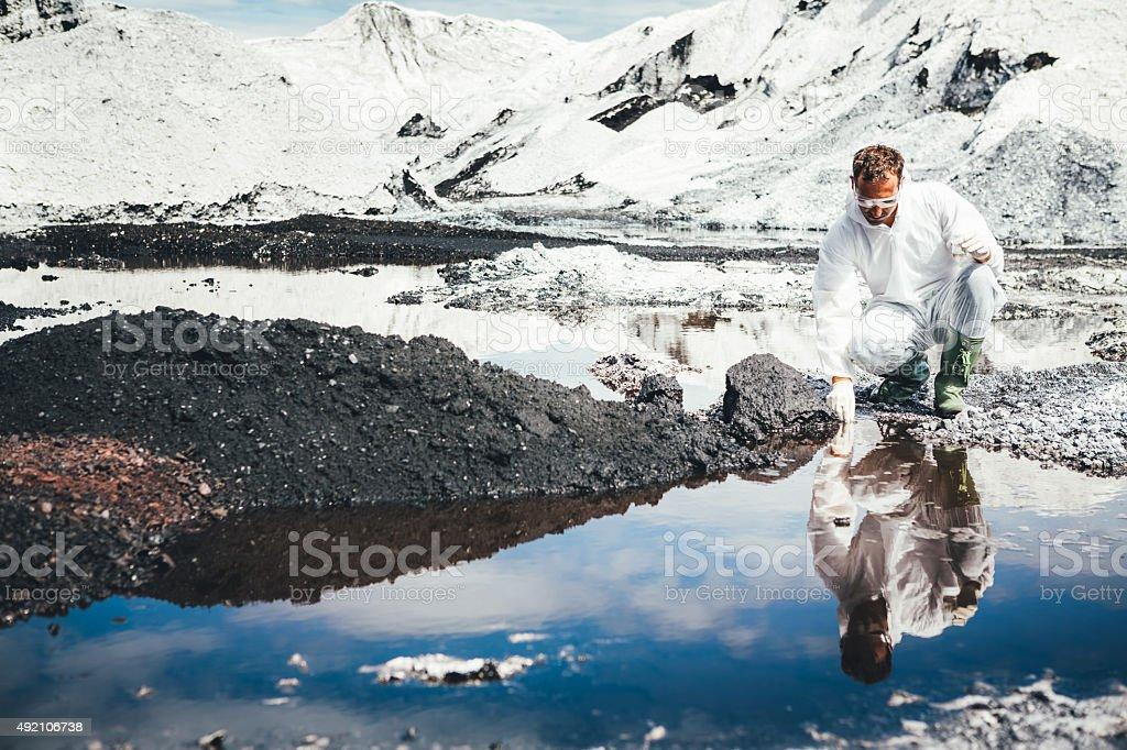 Environmental Scientist Examing Water stock photo