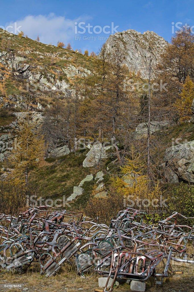 Environmental sins in the mountains stock photo