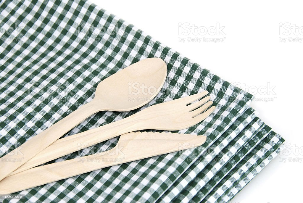 Environmental wooden cutlery, biodegradable stock photo