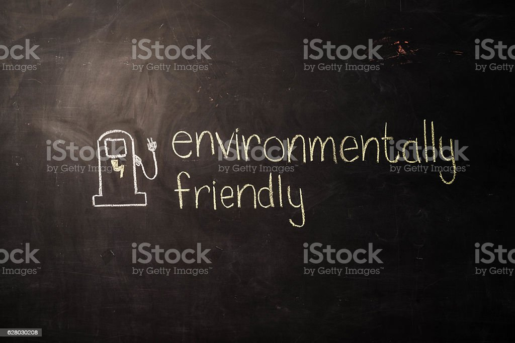 TEXT Environmentally Friendly against black backdrop - Illustration stock photo