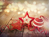 Environmentally Friendly Christmas Decorations, Baubles, Ribbons on Wood Background
