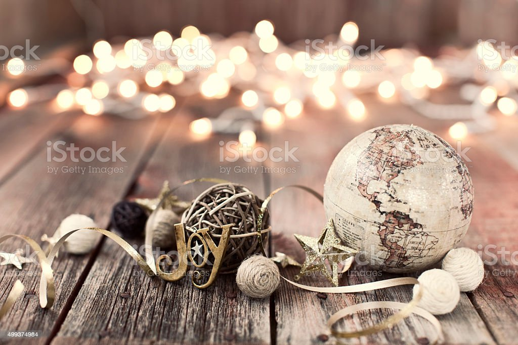 Environmentally Friendly Christmas Decorations on Old Wood Background stock photo