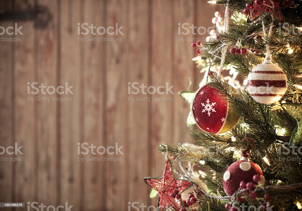 Environmentally Friendly Christmas Tree with Decorations and Ornaments stock photo