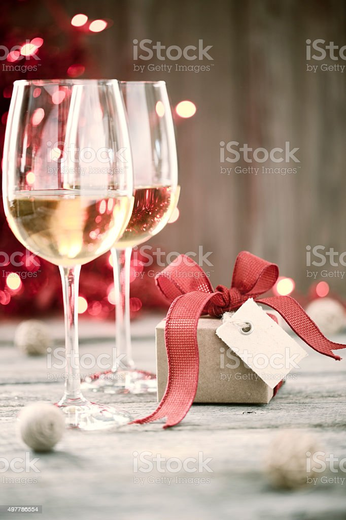 Environmentally Friendly White Wine and Gift with Tag stock photo