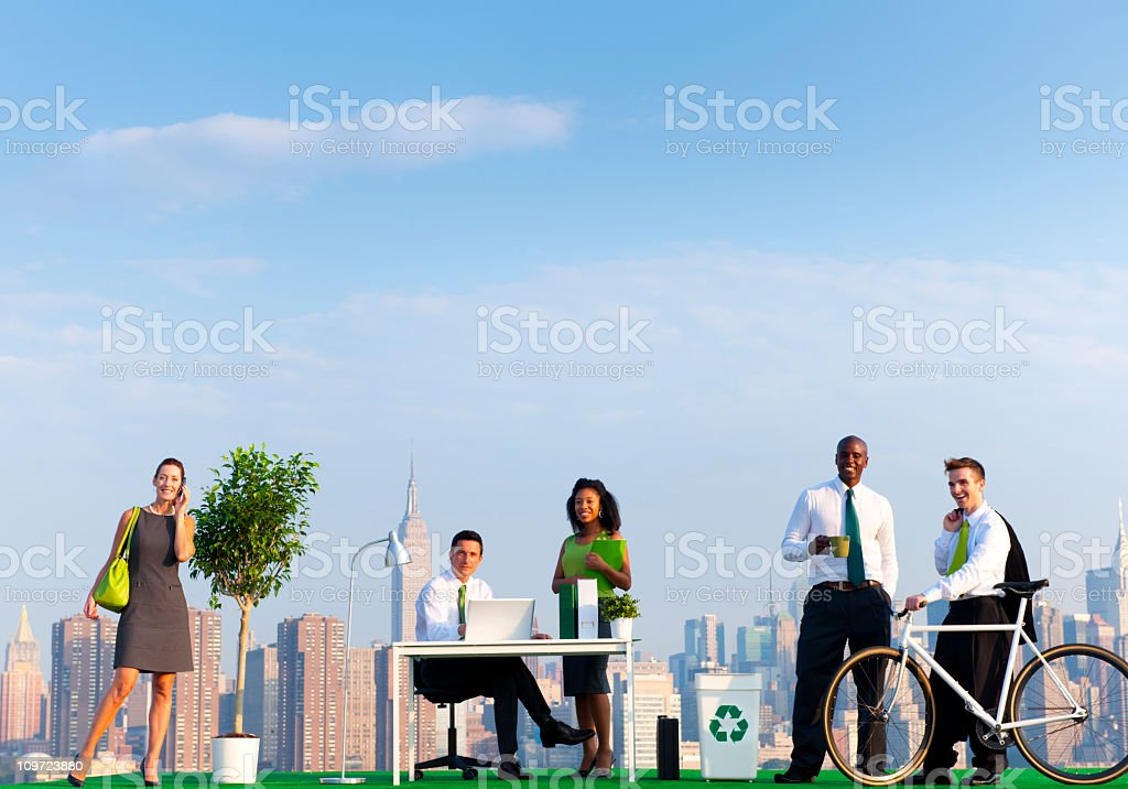 Environmentally Green Office in the City stock photo