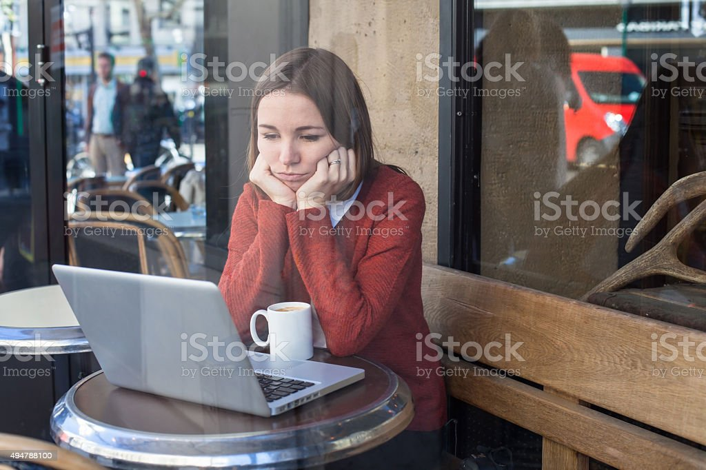 envy concept, bored sad woman stock photo