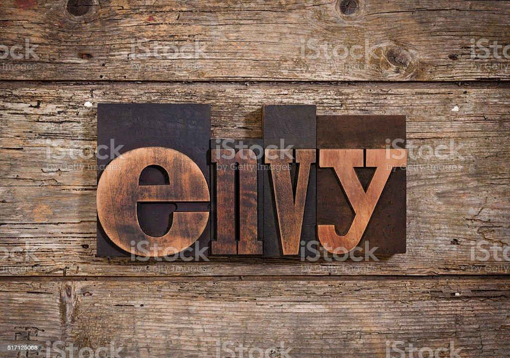 envy written with letterpress type stock photo