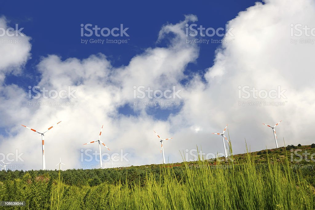 Eolic turbines - Paul de Serra, Madeira royalty-free stock photo