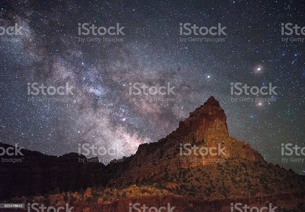 Eph Hanks Tower and Milky Way, UT stock photo