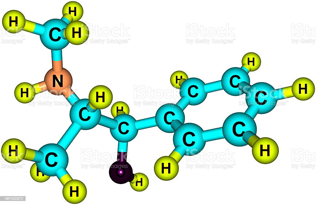 Ephedrine molecule isolated on white stock photo
