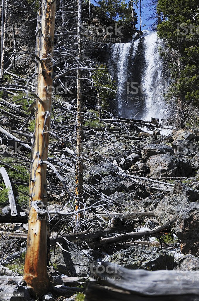 Ephermal Waterfall near Mystic Falls in Yellowstone National Park stock photo