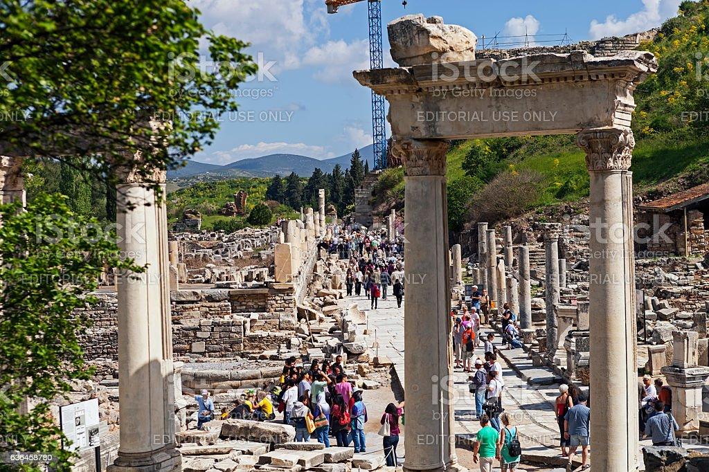 Ephesus ancient city and visitors stock photo