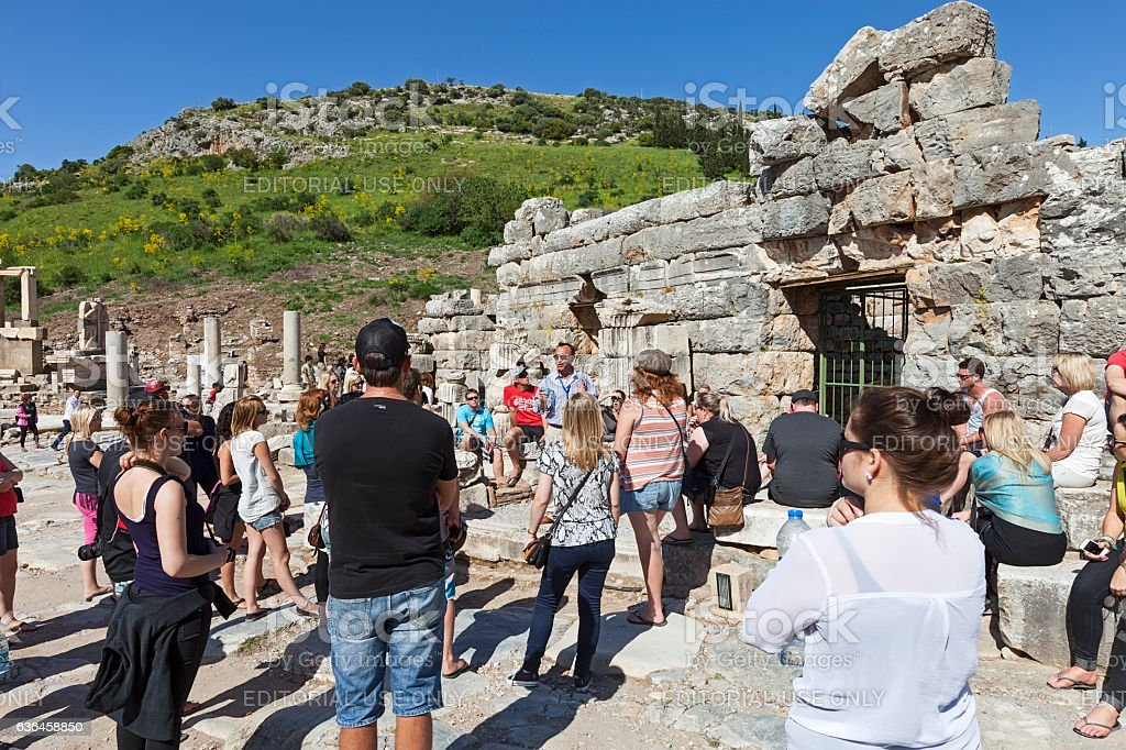 Ephesus ancient city and visitors stock photo