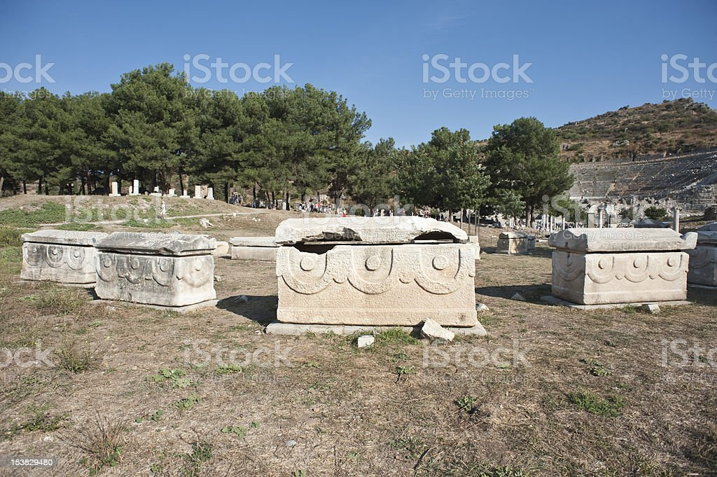 Ephesus ancient tombs royalty-free stock photo