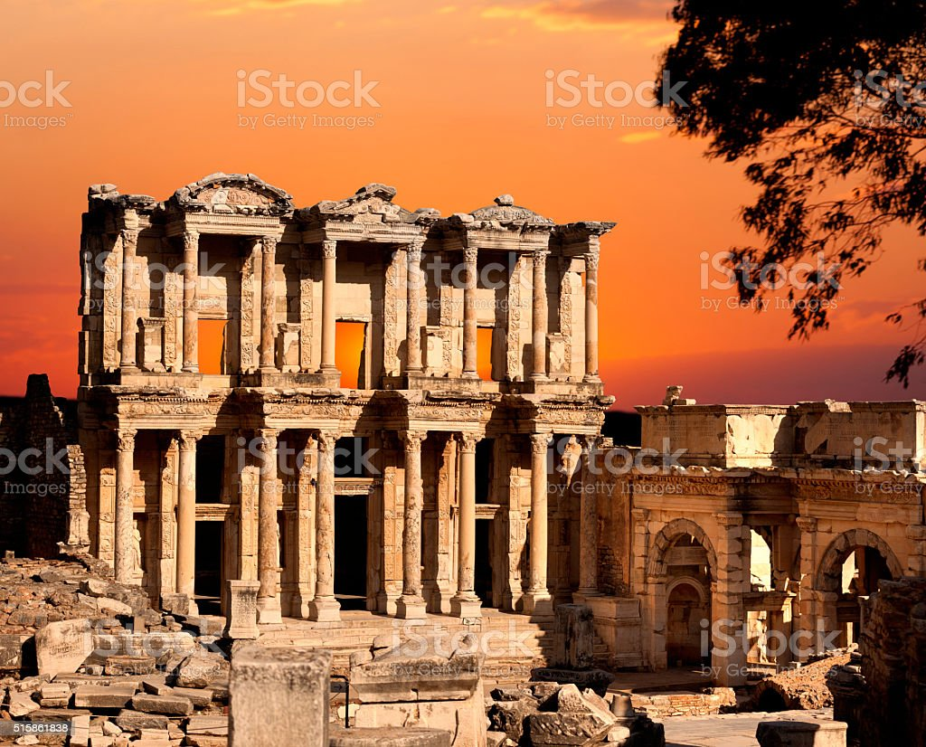 Ephesus Library Building stock photo