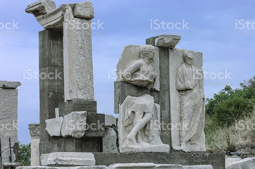 Ephesus sculptures stock photo