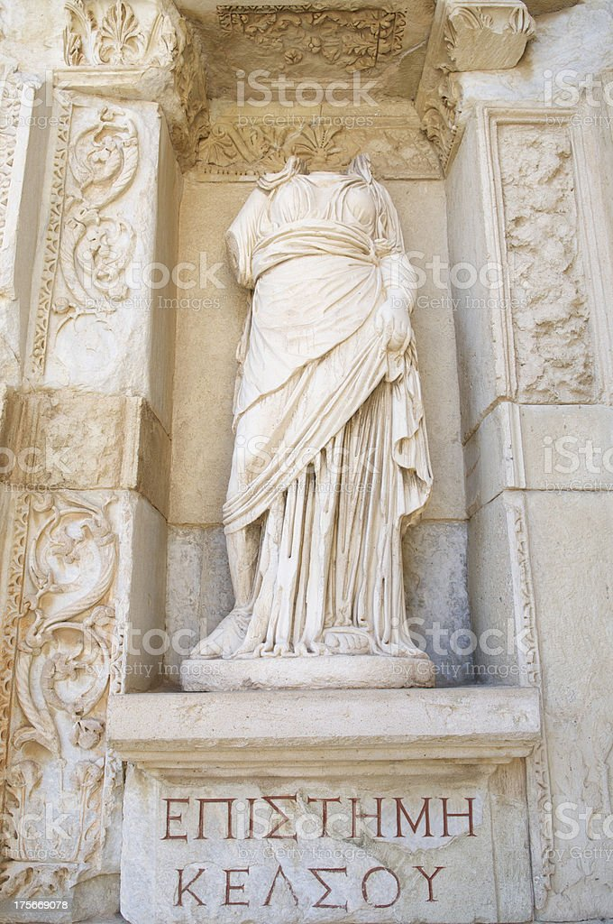 Ephesus Turkey Headless Statue of Knowledge Celsus Library royalty-free stock photo
