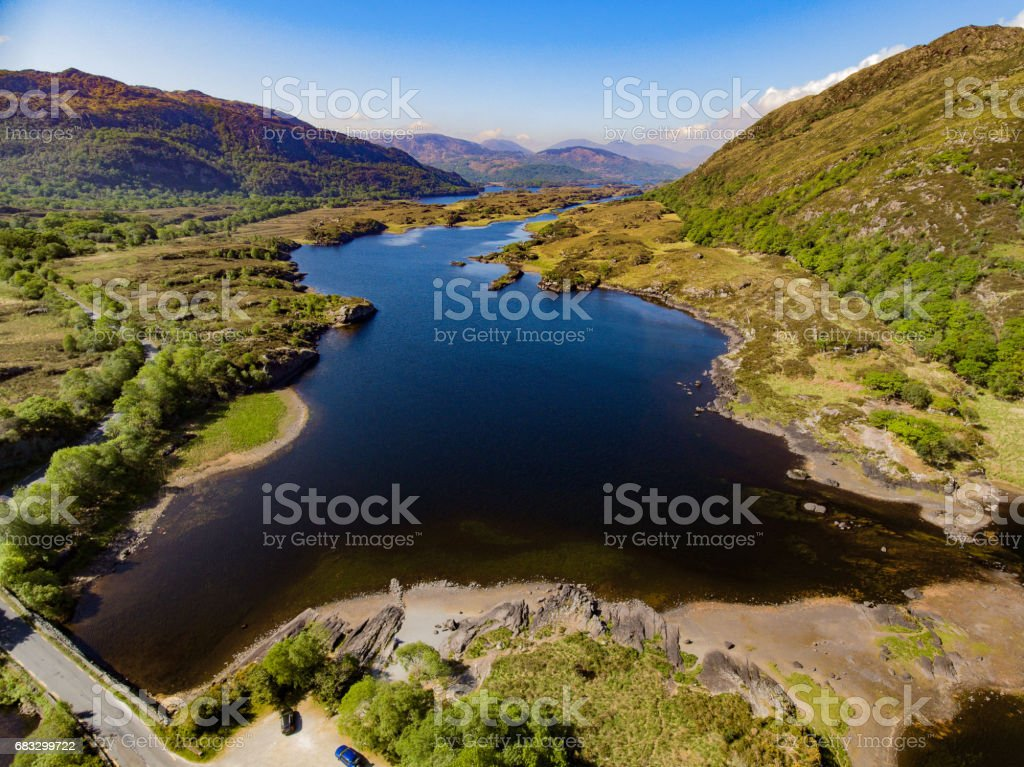 Epic Aerial view Killarney National Park on the Ring of Kerry, County Kerry, Ireland. Beautiful scenic aerial of a natural irish countryside landscape. stock photo