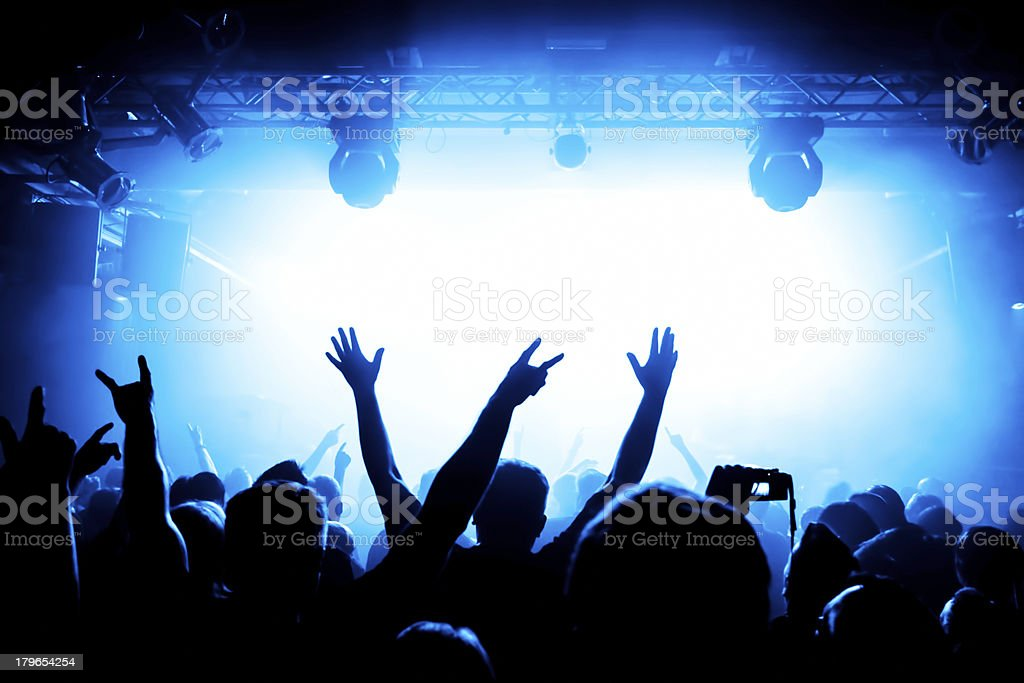 Epic concert crowd with bright light royalty-free stock photo