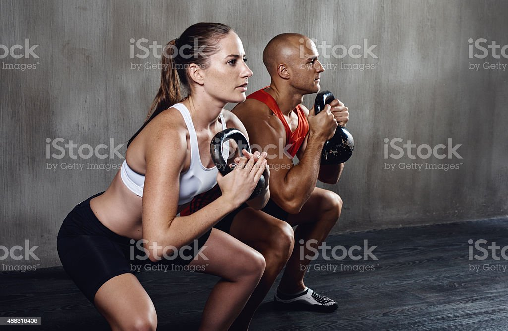 Epic gym session in progress stock photo