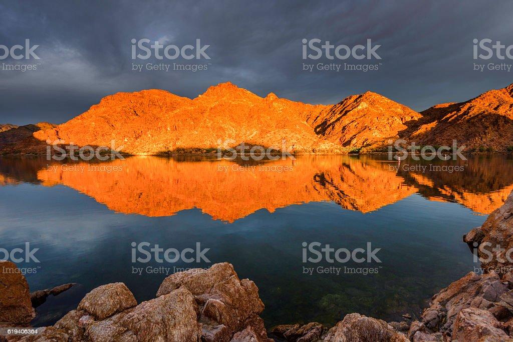 Epic Sunrise at Colorado River near Las Vagas stock photo
