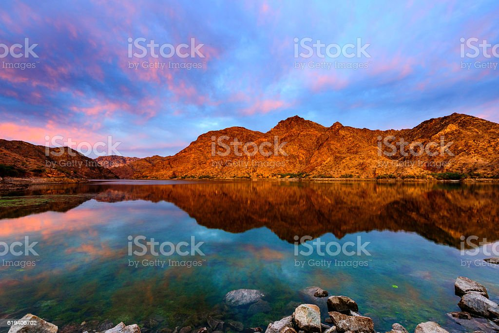 Epic Sunrise at Colorado River near Las Vagas stock photo