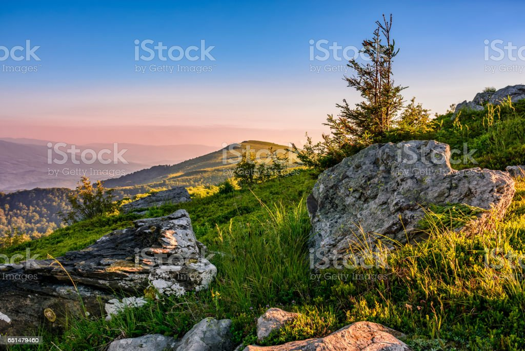 epic sunrise in high mountain ridge stock photo