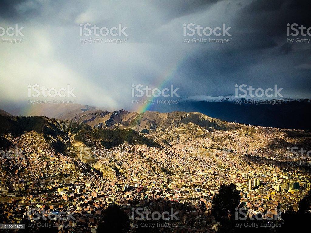 Epic view of La Paz, Bolivia stock photo