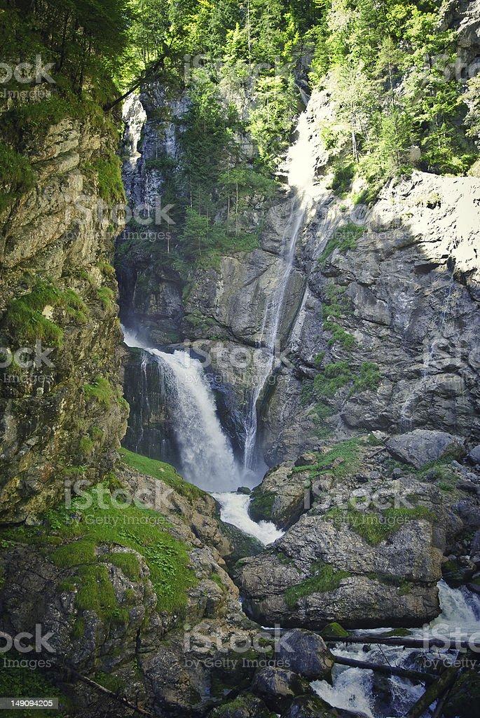 Epic waterfall in motion, Salzkammergut royalty-free stock photo