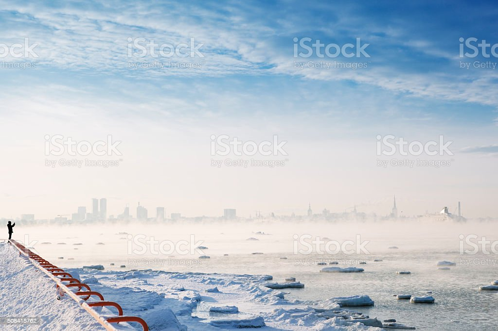 Epic Winterscape in Tallinn, Estonia stock photo