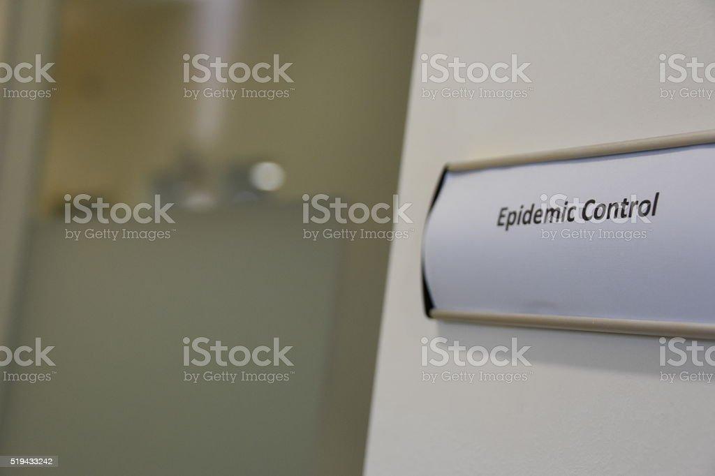 Epidemic control sign stock photo