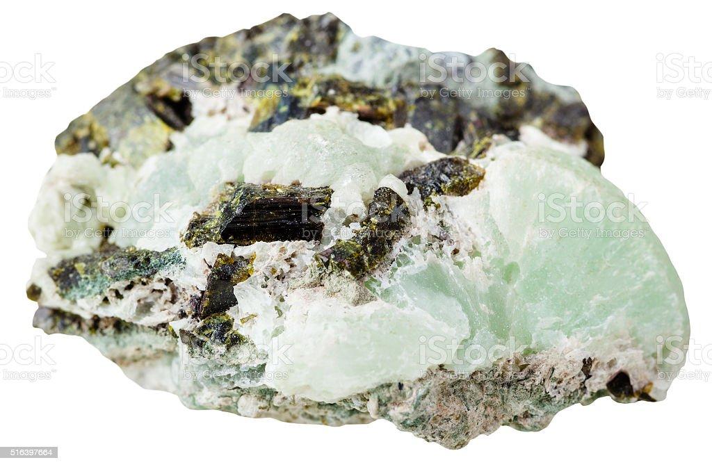 Epidote crystals on Prehnite mineral stone stock photo