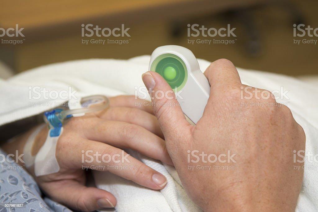 Epidural anesthesia button stock photo
