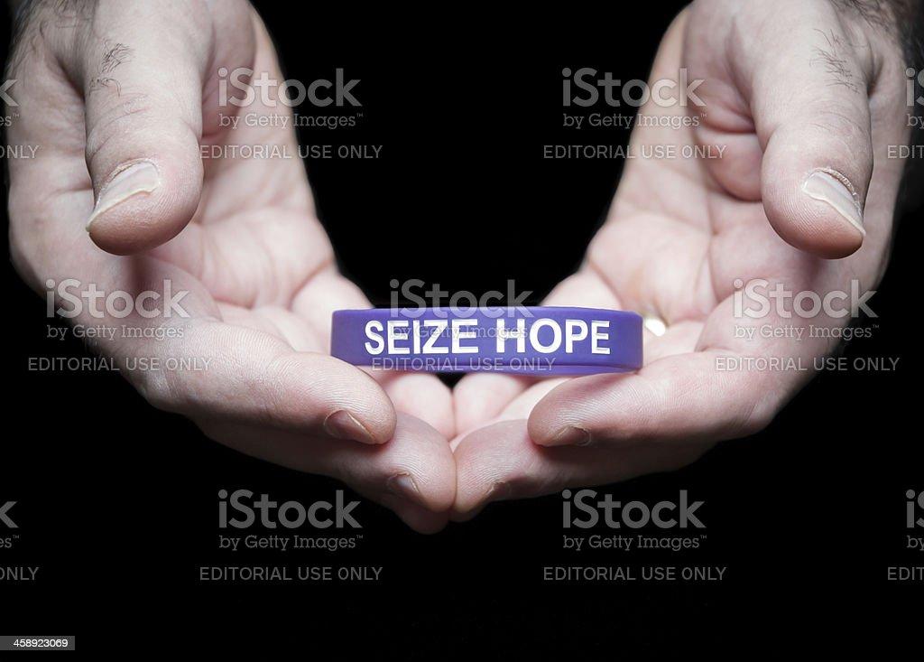 Epilepsy Foundation Cincinnati Chapter purple Seize Hope bracelet royalty-free stock photo