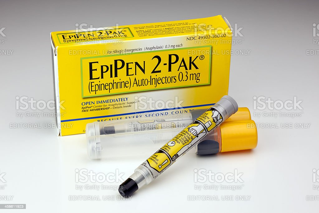 EpiPen Epinephrine Auto-Injector for Allergic Emergencies royalty-free stock photo