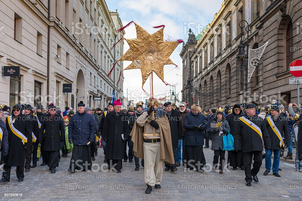 Epiphany holiday in Christian religion - traditional procession stock photo