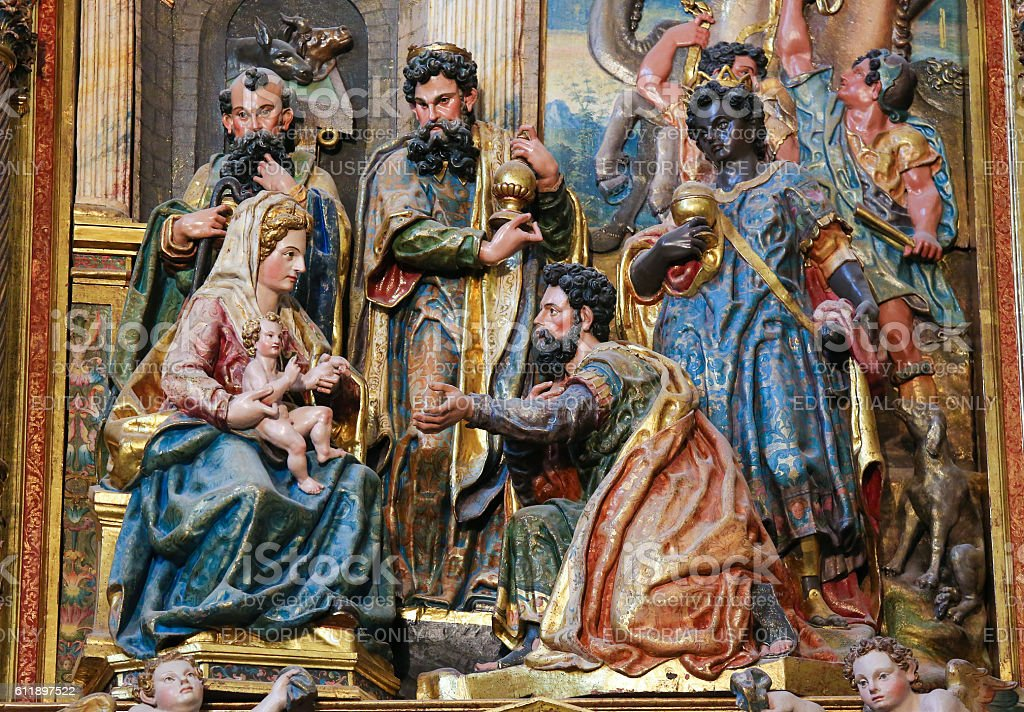 Epiphany or Adoration of the Magi in Burgos Cathedral, Spain stock photo