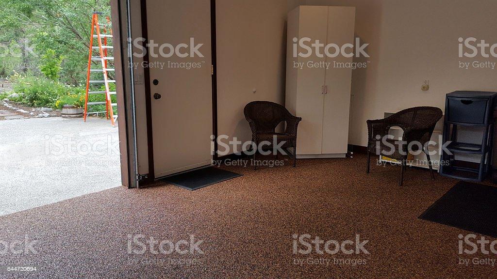 Epoxy Stone Floor Inside Neat And Clean Garage stock photo
