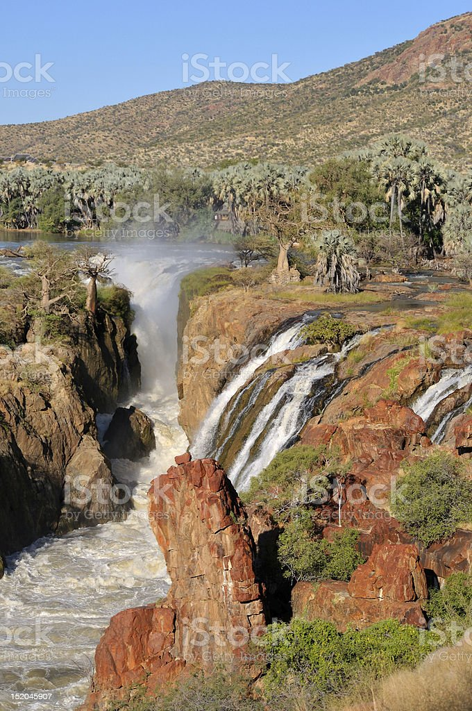 Epupa waterfalls in on the border of Angola and Namibia stock photo
