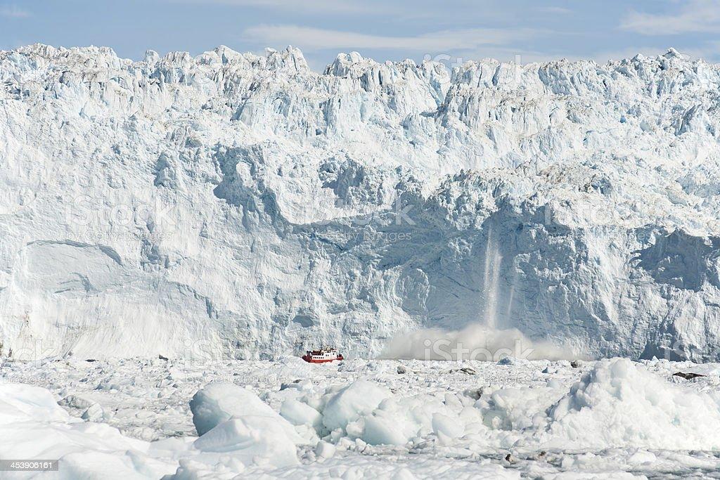 Eqi glacier calving in Greenland stock photo