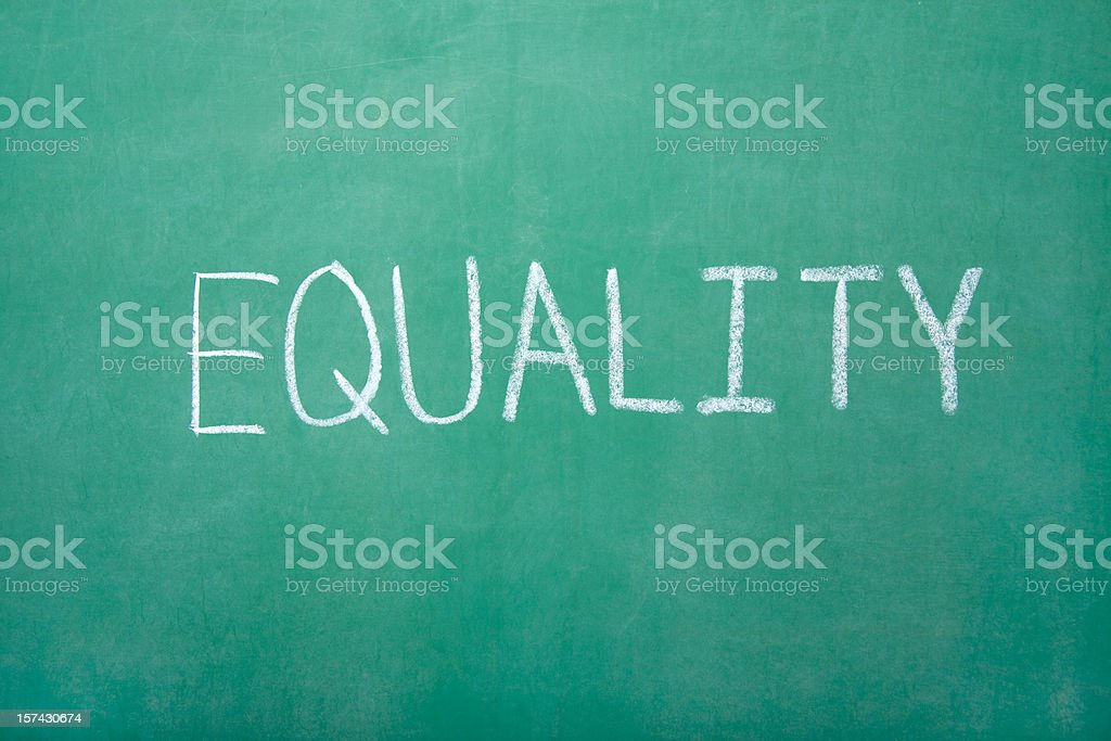 Equailty on Chalkboard royalty-free stock photo